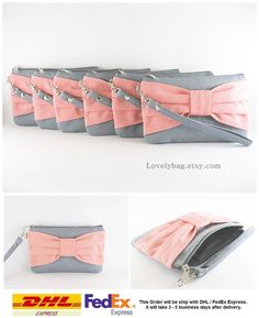 SUPER SALE - Set of 8 Gray with Peach Bow Clutches - Bridal Clutches, Bridesmaid Clutch, Bridesmaid Wristlet, Wedding Gift - Made To Order