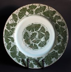 Jon Loer, 2012 - Large porcelain platter with green slip sgrafitto gingko leaves with celedon glaze