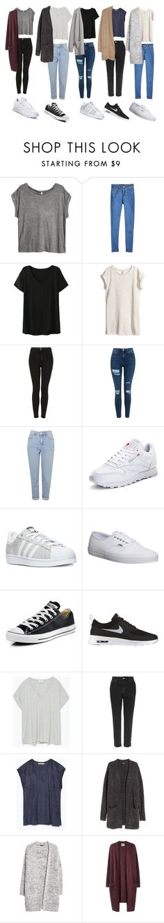 """Outfit of the week OOTW"" by leilabas ❤ liked on Polyvore featuring H&M, Topshop, Reebok, adidas, Vans, Converse, NIKE, Zara, MANGO and Acne Studios"