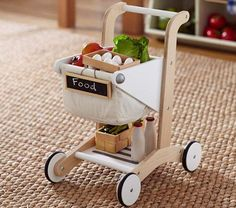 Wooden Shopping Cart - Cutest cart I've seen. Think your little one would like it?                                                                                                                                                     More
