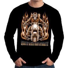 Velocitee Mens Long Sleeve T Shirt Ride It Stole It Biker Motorcycle S3710 #Velocitee