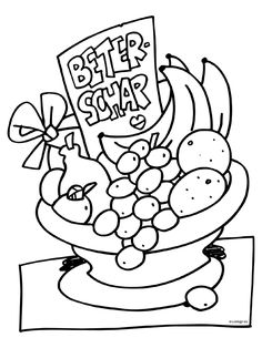Kleurplaat Fruitmand - beterschap - ziekte - Kleurplaten.nl Coloring Pages, Printables, Illustration, Prints, Fictional Characters, Om, Floor, Website, School