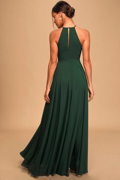 Hunter Green Maxi - Apron Maxi Dress - Bridesmaid Gown Forrest Green Bridesmaid Dresses, Bridesmaid Dresses With Sleeves, Black Bridesmaid Dresses, Bride Dresses, Bridesmaids, Green Maxi, Green Dress, Dark Green Long Dress, Green Formal Dresses