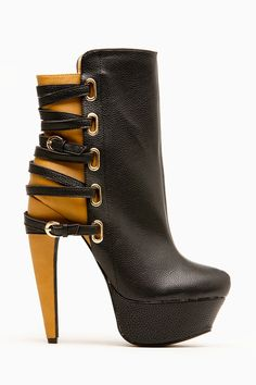 Mona Mia Black Two Tone Strappy Buckle Booties - Shoes