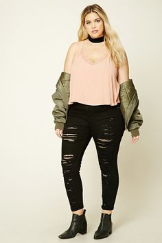 Forever 21+ - A pair of low-rise skinny jeans featuring a distressed front, a five-pocket construction, and zip fly.