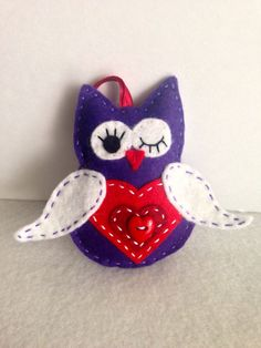 Felt Owl Ornament Purple Valentine Owl with by TheDelightfulBee