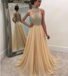 Beading Champagne Prom Dress,Long P