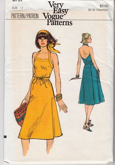 halter neck wrap dress with apron bib front Vogue 9757 vintage sewing pattern Bust 34 Waist 26 Hip 36 Retro resort style sun dress by on Etsy Vintage Dress Patterns, Clothing Patterns, Vintage Dresses, Vintage Outfits, Vintage Wear, Vintage Vogue, Vintage Fashion, Diy Fashion, Fashion Design