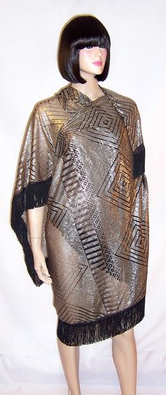 1920's Silver on Black Net Substantial Assuit Shawl by PatriciaJon