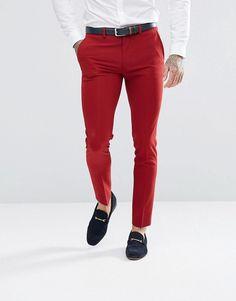 ASOS Super Skinny Fit Suit Pants In Red