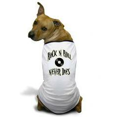Rock N Roll Never Dies Dog T-Shirt> Rock N Roll Never Dies> Route 73 Design and Printing Inc.