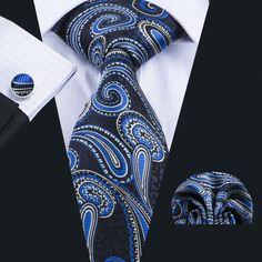 Wang 2018 Designer Ties For Men 20 Styles Blue Fashion Woven Neckties Hanky Cufflinks Set For Wedding Party Freeshipping Designer Ties, Paisley Tie, Cufflink Set, Green Tie, Man Set, Blue Fashion, Mens Fashion, Jacquard Weave, Formal Wedding
