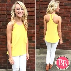 Add a little sunshine to your Spring wardrobe with our NEW Lemon Sheer Petal Tank!! {$28.99} #bbgirls #spring #sunshine #yellow #lemon #tank ☀️