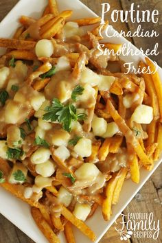is a popular dish originating from Quebec that is basically Canada's version of smothered fries. and it is delicious!Poutine is a popular dish originating from Quebec that is basically Canada's version of smothered fries. and it is delicious! Canadian Dishes, Canadian Food, Canadian Poutine, Family Meal Planning, Family Meals, Family Recipes, Appetizer Recipes, Dinner Recipes, Snacks