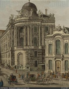 Austria, 18th century. Vienna. The Old Burgtheater (Imperial Court Theatre) or National Hoftheater in Michaelerplatz. On the right Winterreitschule (riding school) or K.K. Reitschule, moved to the... - stock photo