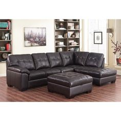 Abbyson Living Manhattan Espresso Top Grain Leather Sectional and Ottoman
