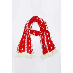 S1093-Red embroidery floral crinkle tassel scarf