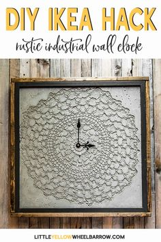 An IKEA hack to make a DIY Concrete clock. Come check out how we pulled this clock together using an IKEA picture frame, concrete clay, and a vintage doily. #largeclock #wallclock #diyclock #diyprojects #rustic #farmhousestyle #cement #concrete