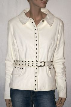 Bright White! Amazing Vintage Real Leather Woman Jacket Giubbino Giacca…