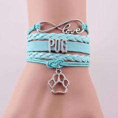 Infinity Love Pug Paw Charm Bracelet