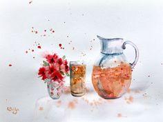 Juice on the Rocks — Rine Philbin Art Watercolour, oils and acrylic paintings Summer Drinks, Watercolour Painting, The Rock, Still Life, Juice, Rocks, Flowers, Image, Food