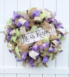 Easter Wreath Religious Easter Wreath He is Risen Wreath