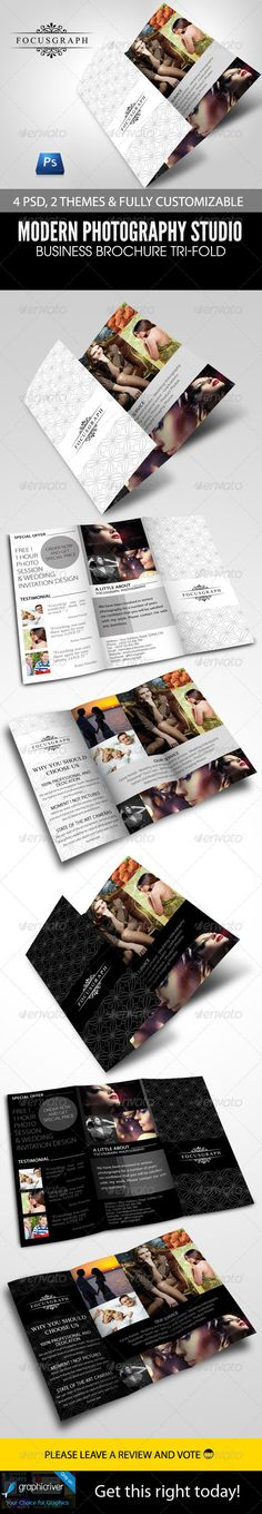 Buy Modern Photography Studio Tri-Fold Brochure by armithmedia on GraphicRiver. Modern Photography Studio Tri-Fold Brochure An elegant, professional, simple and ultra-clean layout for your Brochure. Photography Brochure, Photography Logo Design, Modern Photography, Winter Photography, Amazing Photography, Food Photography, Photography Portfolio, Business Inspiration, Layout Inspiration