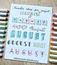Since August is the month of the year here are 8 header ideas for it ? lettering hand lettering calligraphy brush lettering tutorial art drawing handlettering леттеринг за 5 минут how to markers diy letter каллиграфия леттеринг Bullet Journal School, Bullet Journal Headers, Bullet Journal Banner, Bullet Journal Tracker, Bullet Journal Notebook, Bullet Journal Ideas Pages, Bullet Journal Inspiration, Bullet Journal Writing Styles, Journal Fonts