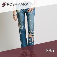 Free People Patchwork Boyfriend Jeans size 28 Beautiful free People Jeans. New with tags!! Size 28 Free People Jeans Ankle & Cropped