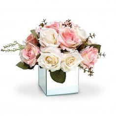 Arranjo de Flores Artificiais Rosas Mistas Vaso Espelhado Pequeno 25x15
