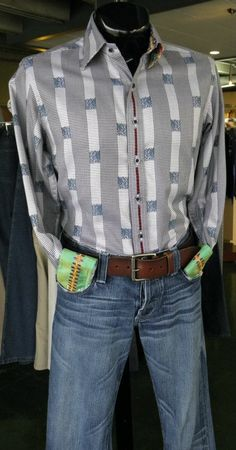 Shirt by Robert Graham(L)  Jeans by Rock & Republic(30)  Belt by Lucky Brand(36)