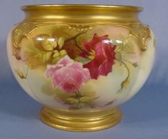 Lot: 545: Royal Worcester Jardiniere, Lot Number: 0545, Starting Bid: $30, Auctioneer: Tom Harris Auctions, Auction: High Quality Antique Glass & Ceramics Auction, Date: March 29th, 2008 CDT