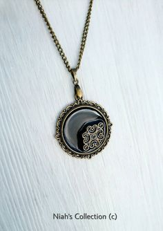 Round Antique Bronze filligree Pendant Black Resin Chain Necklace 20inch With Lobster Clasp Fastening by NiahsCollection on Etsy