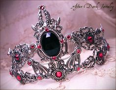 Custom work 2011 - Neo Gothic Victorian Bridal Tiara with black and pink color scheme