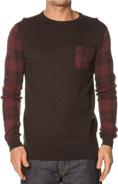 Plaid sleeve crewneck sweater.  http://www.swell.com/Nauti-Sweater-Party/BILLABONG-DISTRESS-CREW-NECK-SWEATER-5?cs=BL