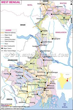 Map of West Bengal with its districts, railway lines, rivers, major road network, etc