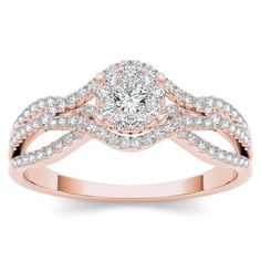 De Couer 10k Rose Gold 1/2ct TDW Diamond Halo Engagement Ring (H-I, I2)