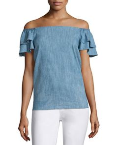 Loryn+Off-the-Shoulder+Chambray+Blouse,+Blue+by+Alice+++Olivia+at+Neiman+Marcus.
