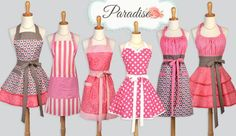 Modern styling with stripes, polka dots and daisies in shades of berry pink and taupe in sweetheart, retro ruffled, flirty chic, traditional chef, classic full bib.