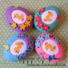 Купить Пасхальные яйца из фетра с вышивкой - разноцветный, яйцо пасхальное, пасхальный сувенир, из фетра