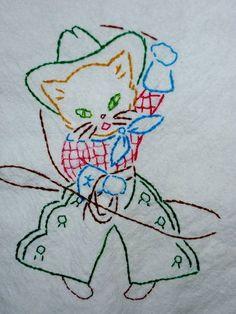 Vintage Cowgirl Kitty Tea Towel - NEEDLEWORK