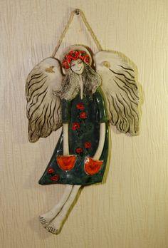 Pottery Angels, Ceramic Angels, Girlfriend Birthday, Angel Art, Air Dry Clay, Ceramic Art, Sculpture Art, Wall Art Decor, Clay Angel