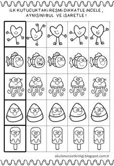 First Grade Worksheets, Kindergarten Math Worksheets, 1st Grade Math, Preschool Learning, Preschool Activities, Visual Perception Activities, Dots Game, Baby Journal, Autism Classroom