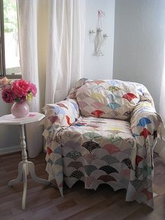 Granny Chic Chair. Quilt on old chair.