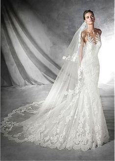 Elegant Tulle Bateau Neckline Mermaid Wedding Dress with Lace Appliques #weddingdress