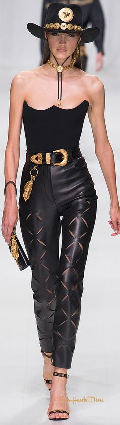 Versace Spring 2018 RTW #MFW #ss18 leather pants