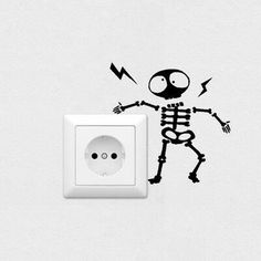Wall Switch Sticker Home Decoration Individuality Skeleton Wall Sticker Decal 691184862098 Simple Wall Paintings, Creative Wall Painting, Wall Painting Decor, Creative Walls, Diy Wall Decor, Home Decor Paintings, Wall Stickers Room, Wall Decals, Wall Art Designs