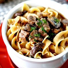 Slow Cooker Beef Stroganoff Soup - Savory, flavorful EASY comfort!