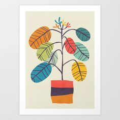 Potted plant 2 Mini Art Print by budikwan Art And Illustration, Abstract Flowers, Abstract Art, Motif Tropical, Popular Art, Plant Art, Leaf Art, Collage Art, Art Lessons