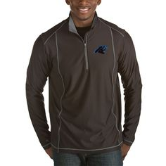 Carolina Panthers Antigua Tempo Half-Zip Pullover Jacket - Heather Black